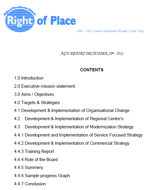 Click here to download the Right Of Place 2011 AGM Report